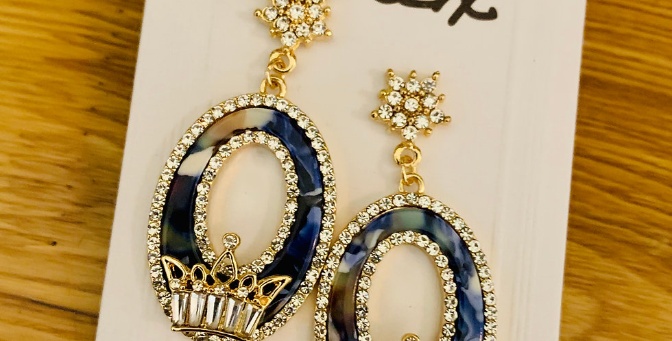 Natural Stone with Crown Drop Earrings