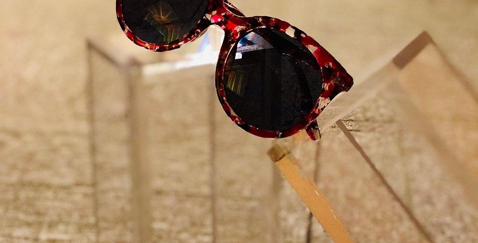 Confetti Burgundy Retro Sunglasses