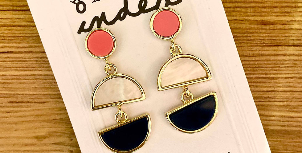 Color Shape Long Drop Earrings