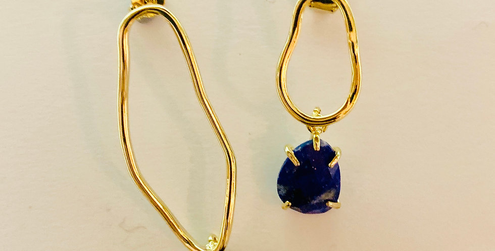 Irregular Blue Stone Drop Earrings