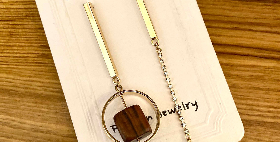 Long Drop Wood Cube Earrings