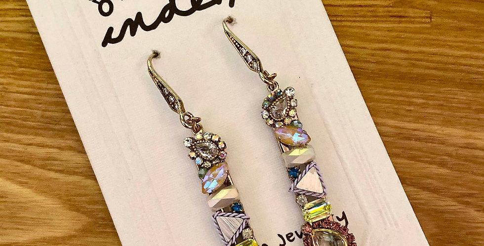 Pastel Crystal Pearls Drop Earrings