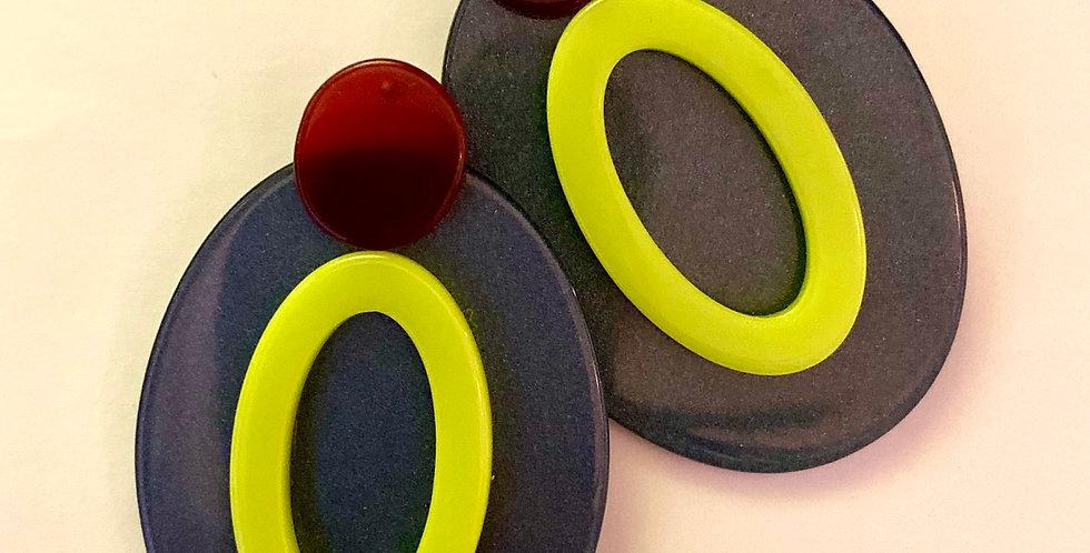 Big Oval Resin Earrings