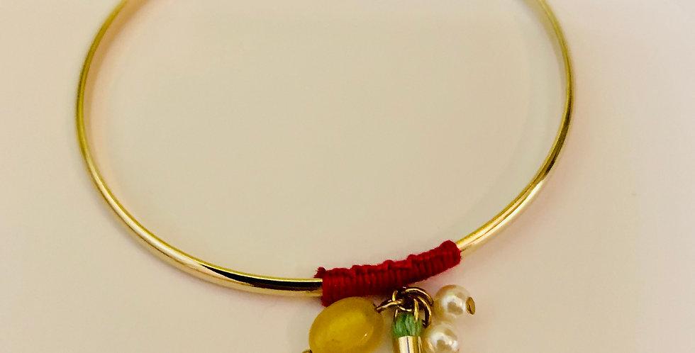 Stone Tassel Cuff Bracelet
