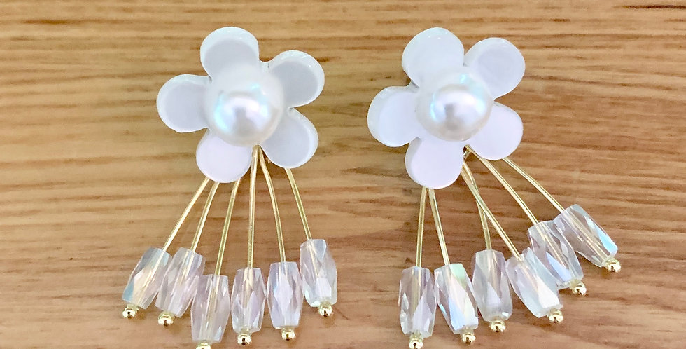 Resin Flower Drop Earrings