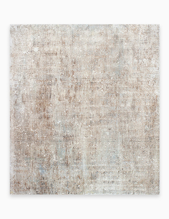 Sin título, 2018. Acrylic, sand, chalk, gypsum and iron dust on linen. 162 x 140 cm.
