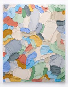 PR60, 2021. Acrylic, sand and limestone on wood panel, 195 x 160 cm.
