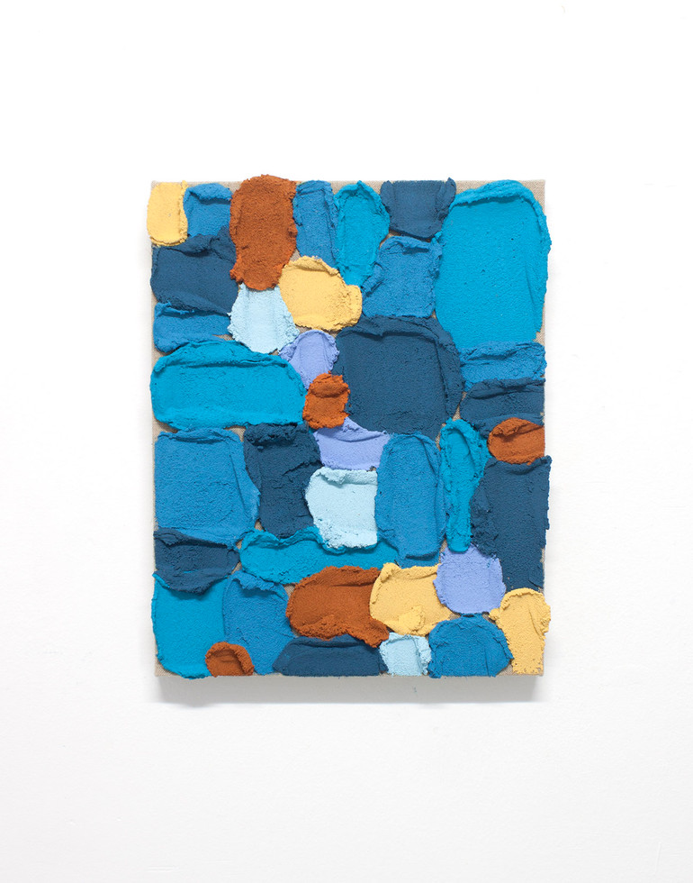 PR35, 2020. Acrylic, sand and limestone on linen. 41 x 33 cm.