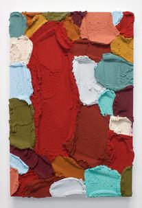 PR49, 2021. Acrylic, sand and limestone on wood panel, 60 x 40 cm.