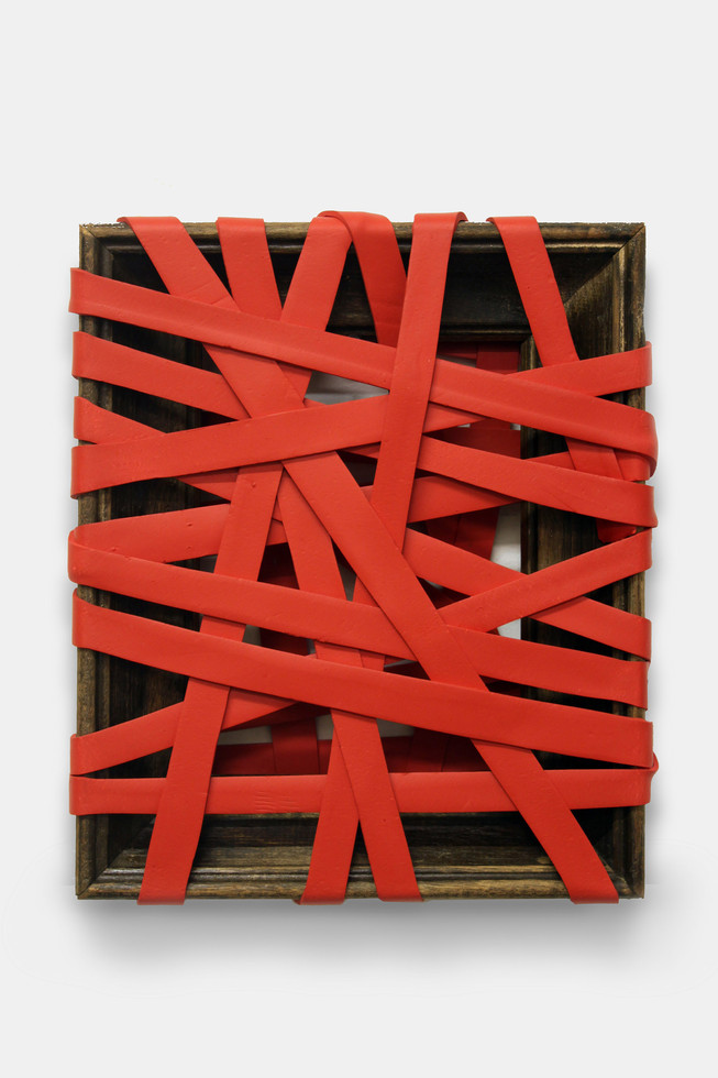 Bound (Red), 2013. Acrylic and wooden frame. 30 x 25 x 5 cm.