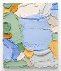 PR56, 2021. Acrylic, sand and limestone on wood panel, 60 x 50 cm.