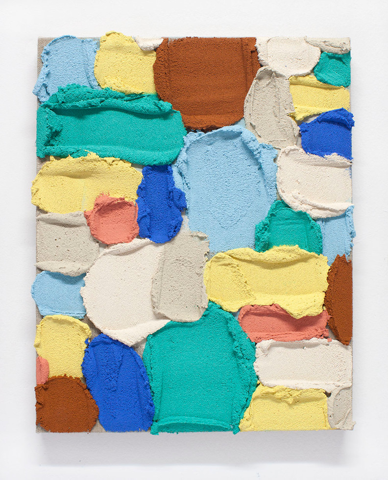 PR36, 2020. Acrylic, sand and limestone on linen. 41 x 33 cm.