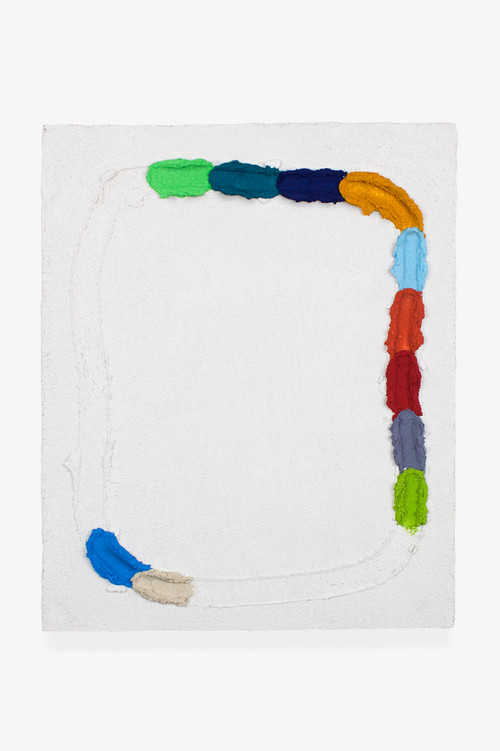 Pintura JL05, 2019. Acrylic, sand and limestone on canvas. 46 x 38 cm.
