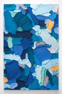 PR46, 2021. Acrylic, sand and limestone on wood panel, 195 x 121 cm.