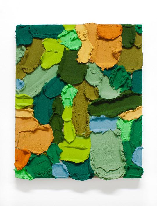 PR40, 2020. Acrylic, sand and limestone on linen. 55 x 46 cm.