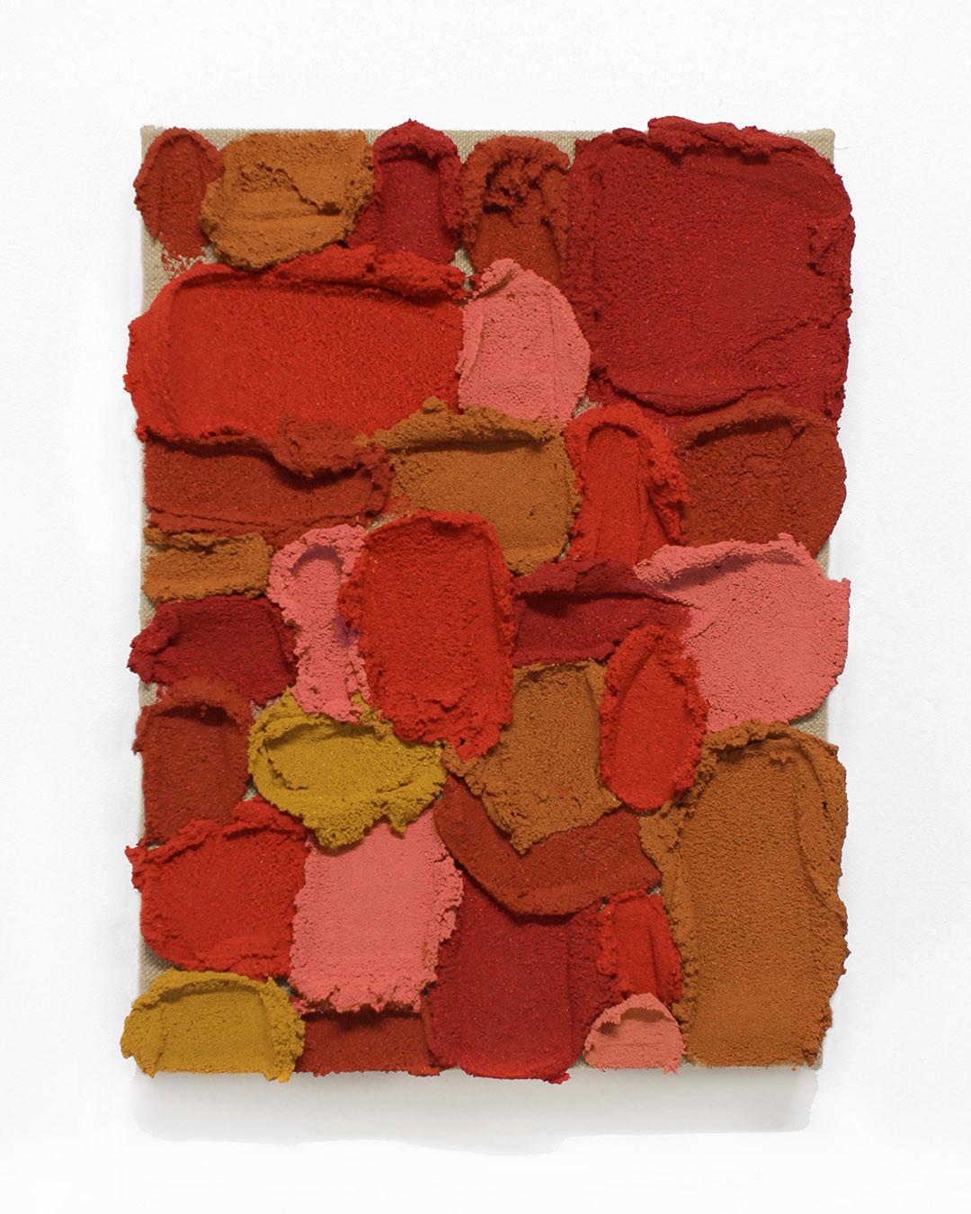 PR31, 2020. Acrylic, sand and limestone on linen. 33 x 24 cm.