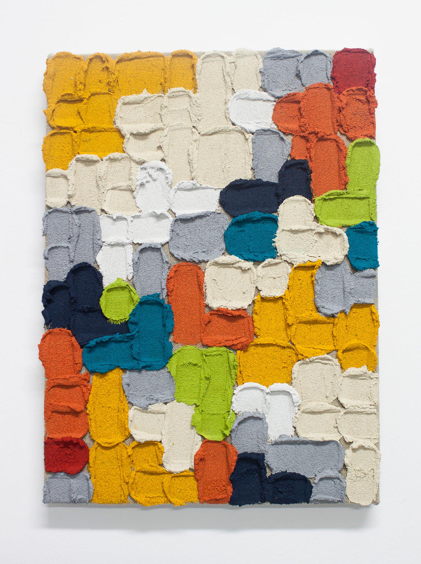 Pintura O012, 2019. Acrylic, sand and limestone on linen. 46 x 33 cm.