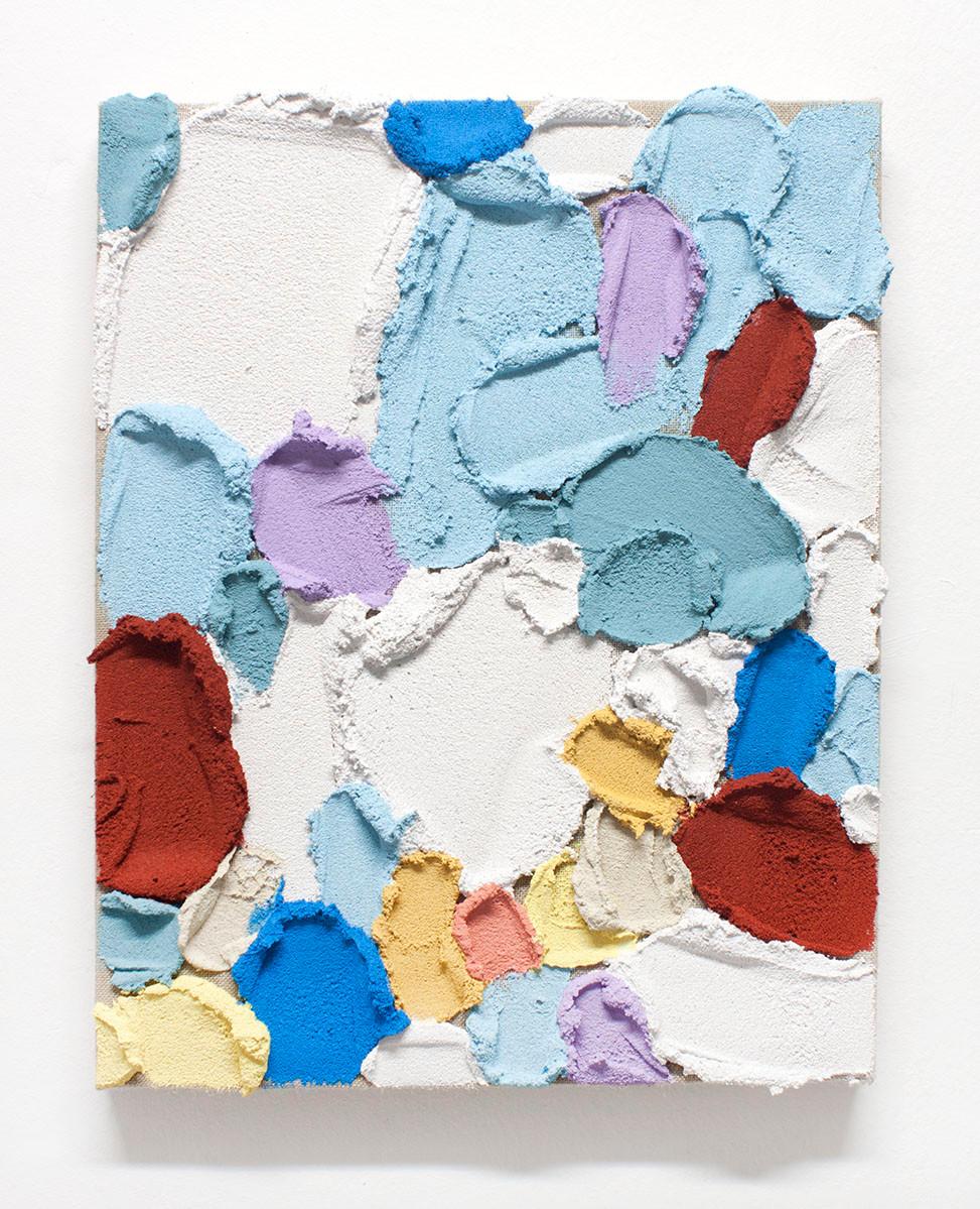 PR38, 2020. Acrylic, sand and limestone on linen. 41 x 33 cm.
