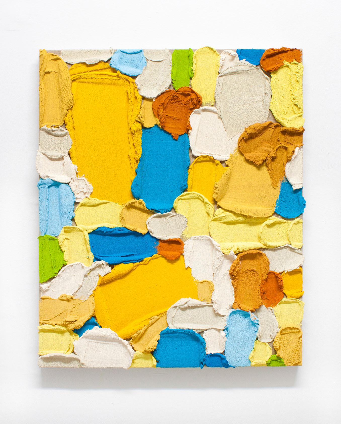 PR39, 2020. Acrylic, sand and limestone on linen. 61 x 50 cm.