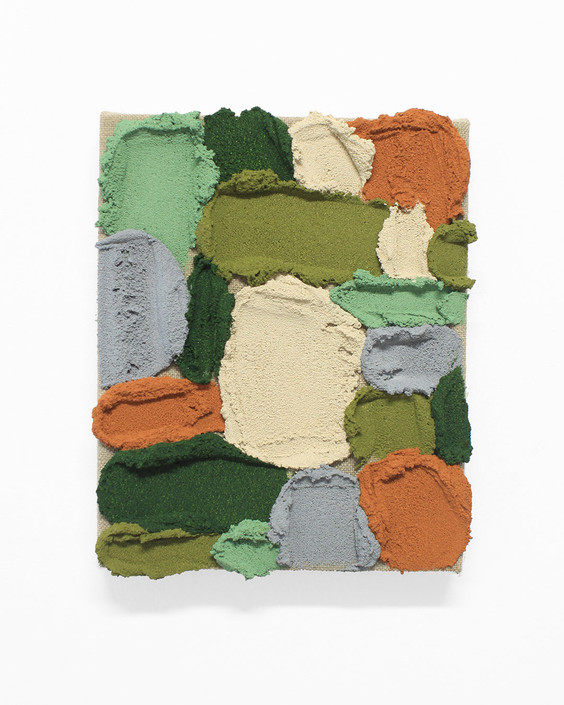 PR29, 2020. Acrylic, sand and limestone on linen. 27 x 22 cm.