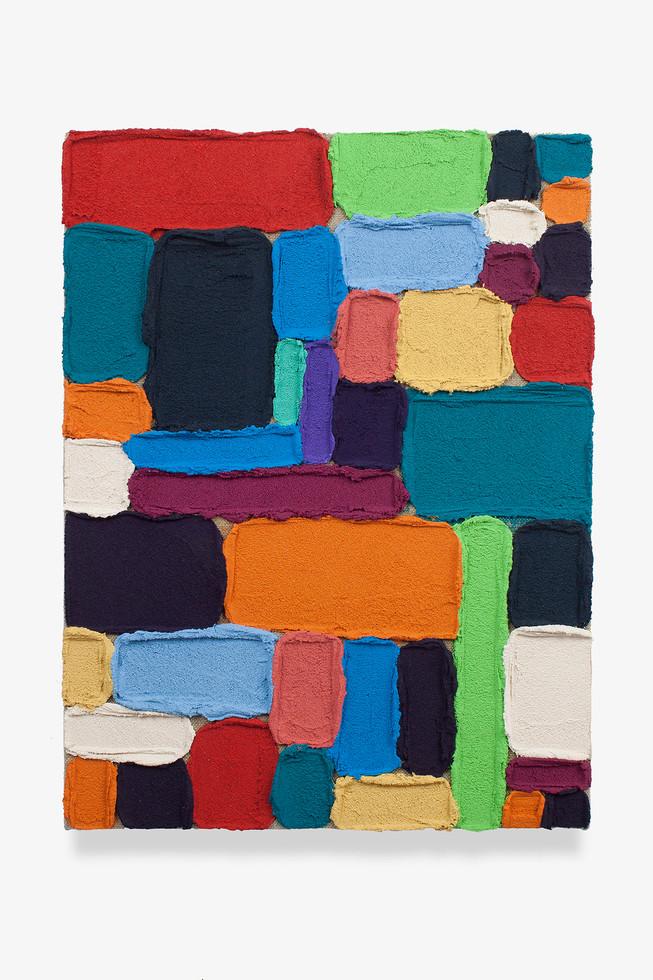 M01 (Masas), 2019. Acrylic, sand and limestone on linen. 50 x 38 cm.