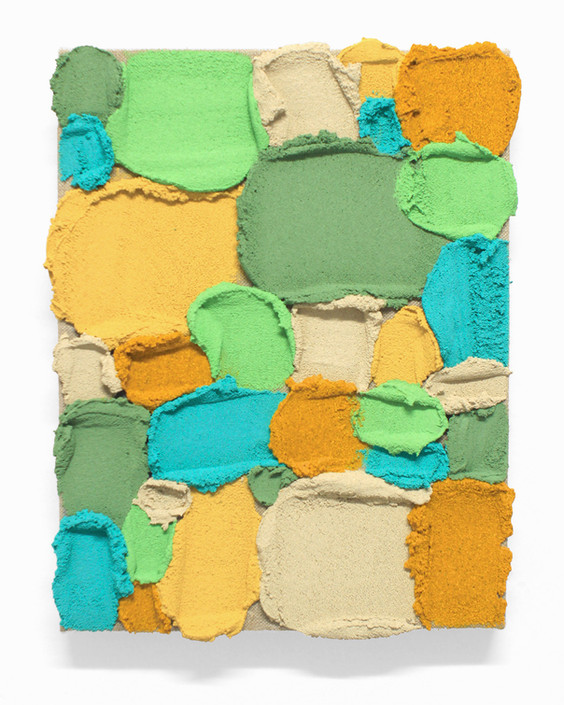PR31, 2020. Acrylic, sand and limestone on linen. 35 x 27 cm.