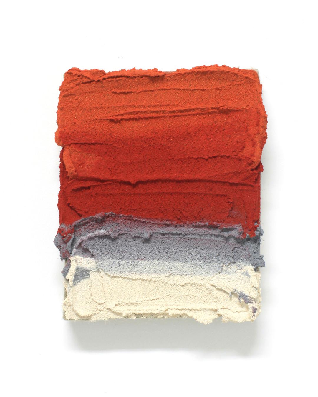 PR23, 2020. Acrylic, sand and limestone on linen. 20 x 16 cm.