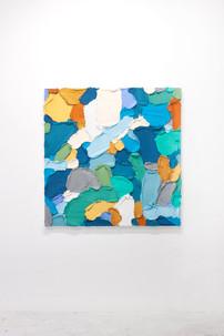PR43, 2021. Acrylic, sand and limestone on wood panel, 121 x 121 cm.