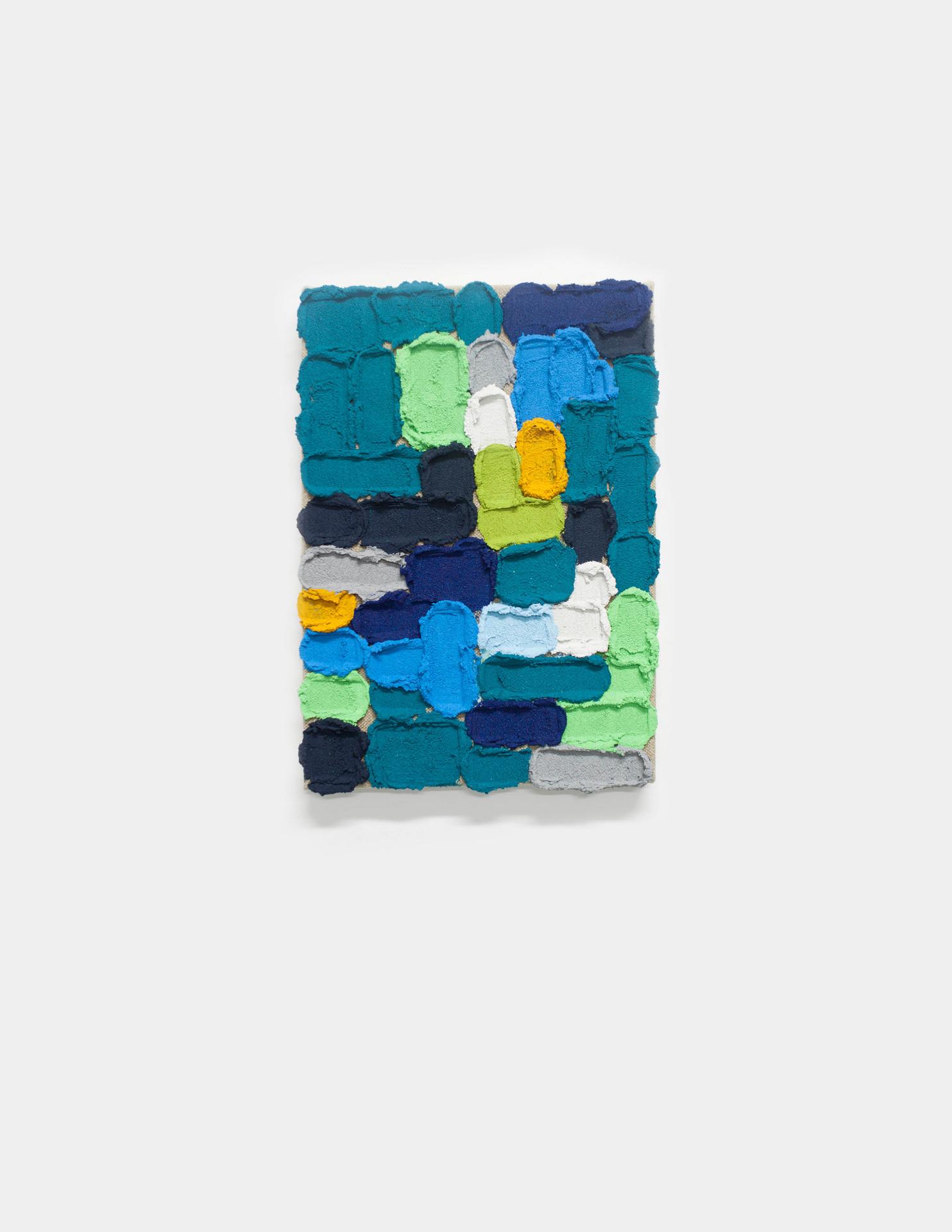 Pintura O011, 2019. Acrylic, sand and limestone on linen. 38 x 27 cm.