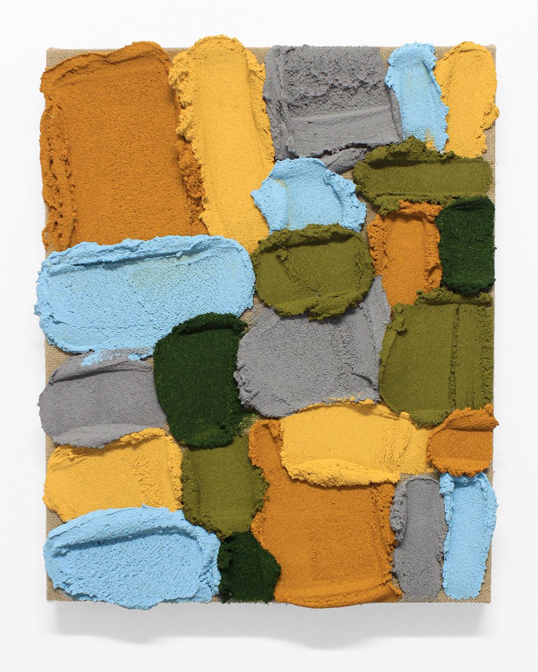 PR33, 2020. Acrylic, sand and limestone on linen. 41 x 33 cm.