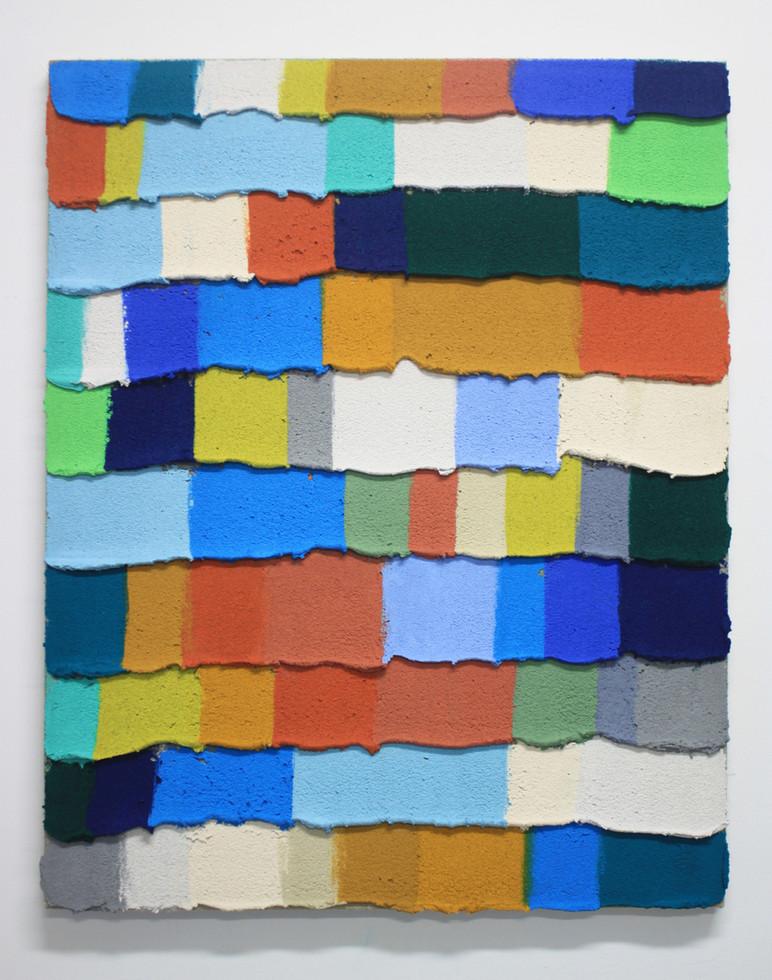 PR17, 2019. Acrylic, sand and limestone on linen. 81 x 65 cm.