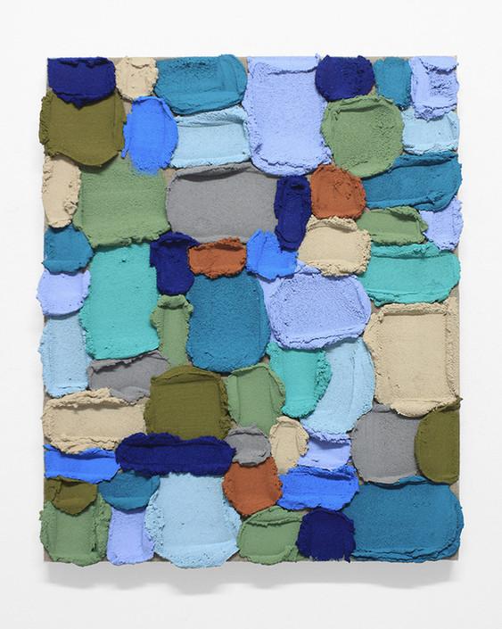 PR34, 2020. Acrylic, sand and limestone on linen. 61 x 50 cm.