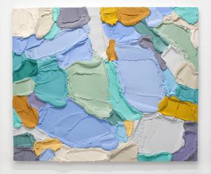 PR58, 2021. Acrylic, sand and limestone on wood panel, 100 x 121 cm.