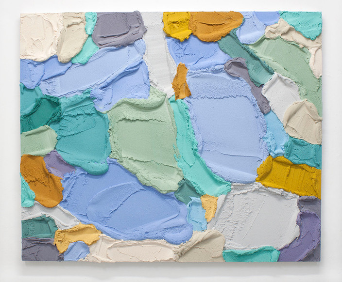 PR58, 2021. Acrylic, sand and limestone on wooden panel, 100 x 121 cm.