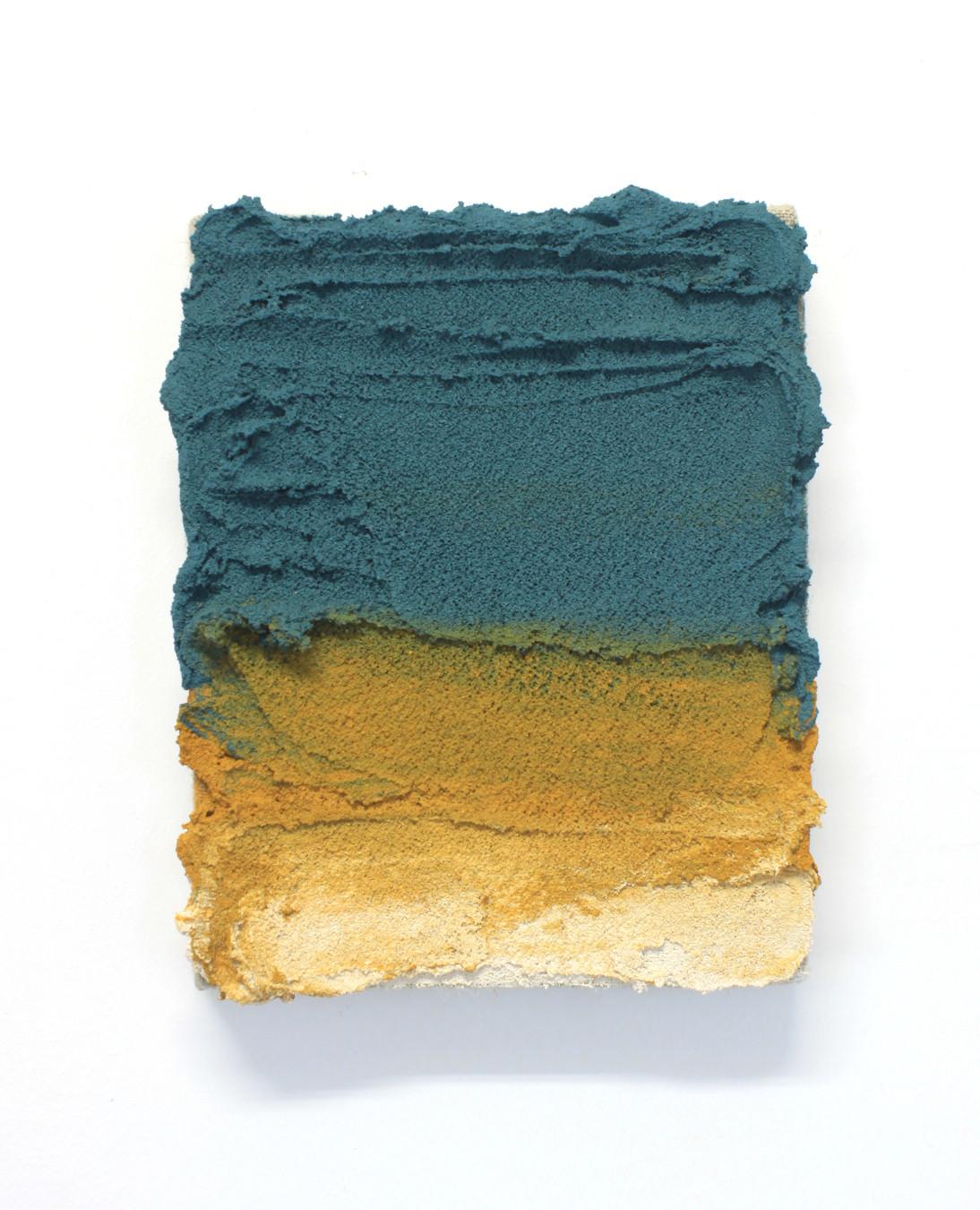 PR27, 2020. Acrylic, sand and limestone on linen. 20 x 16 cm.