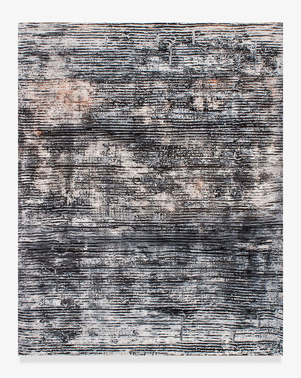 Sin título, 2018. Acrylic, sand, chalk, gypsum and pigments. 146 x 114 cm.