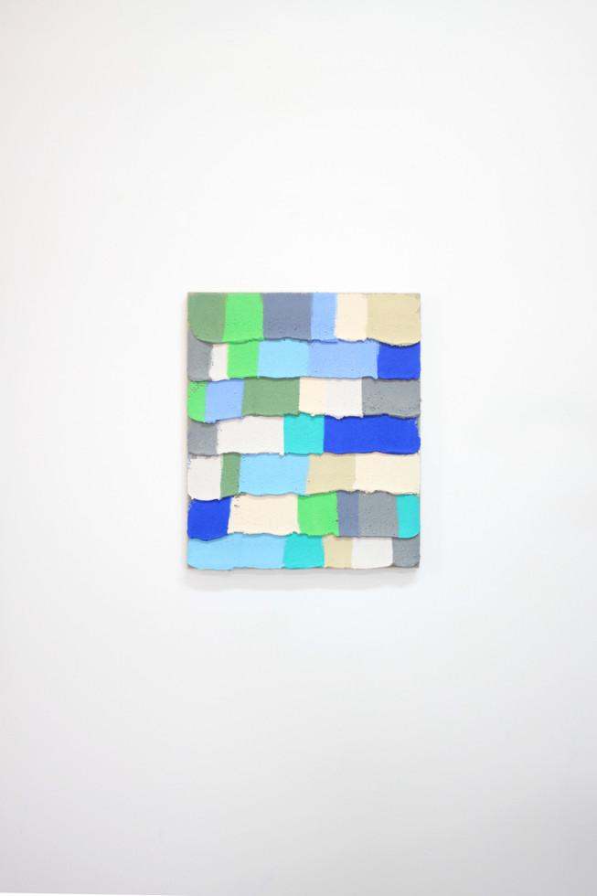 PR16, 2019. Acrylic, sand and limestone on linen. 55 x 46 cm.