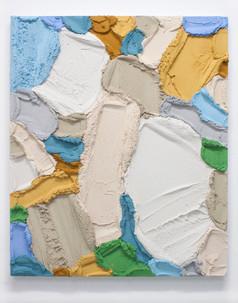 PR63, 2021. Acrylic, sand and limestone on wood panel, 85 x 70 cm.
