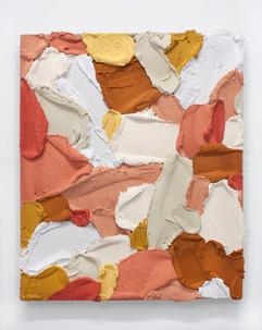 PR44, 2021. Acrylic, sand and limestone on linen, 55 x 46 cm.