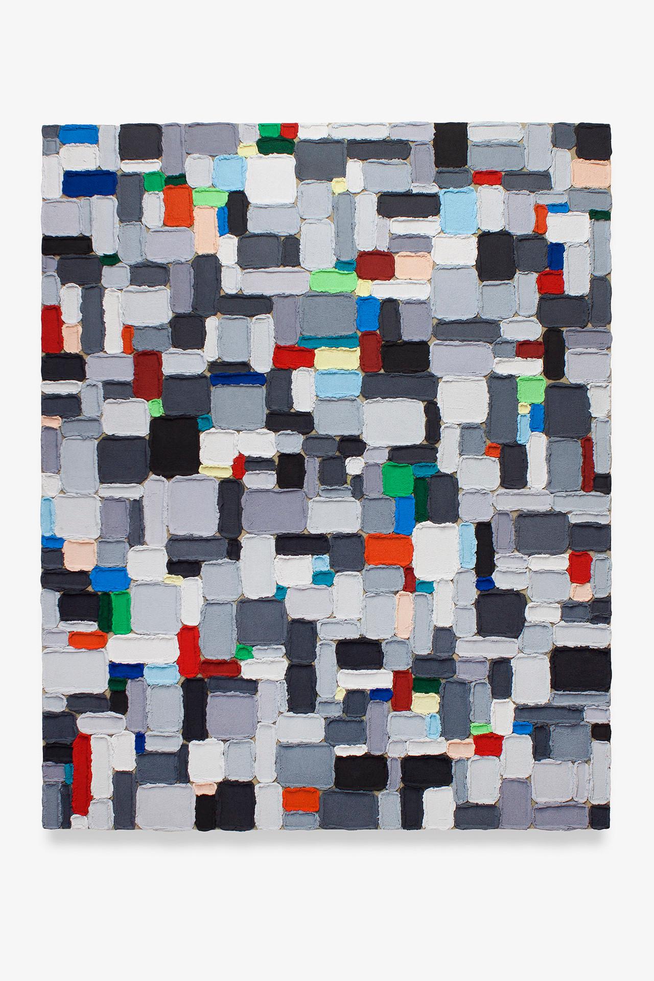 M06 (Masas), 2019. Acrylic, sand and limestone on linen. 146 x 114 cm.