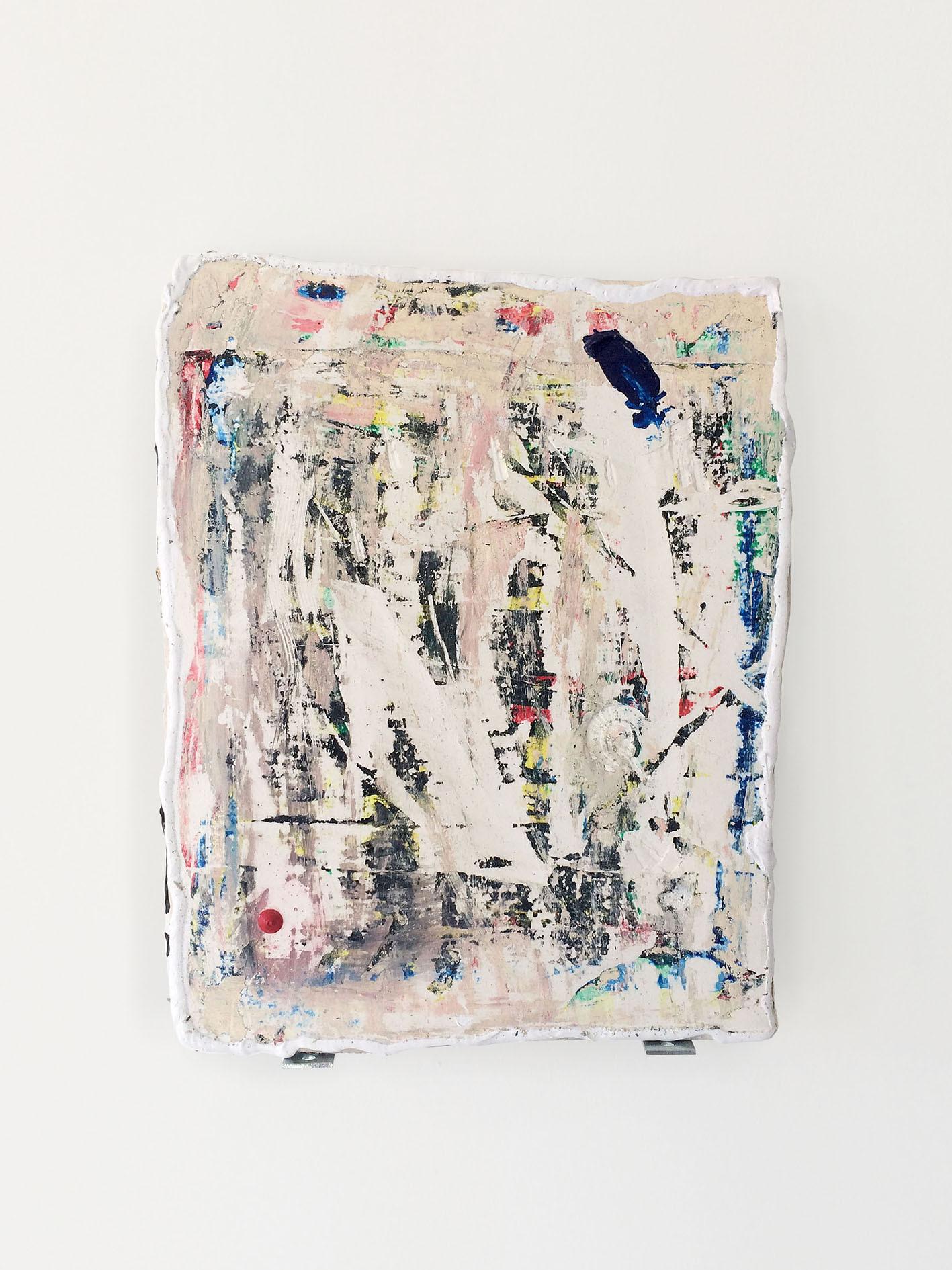 Al borde, 2017. Acrylic and plaster. 35 x 25 cm.