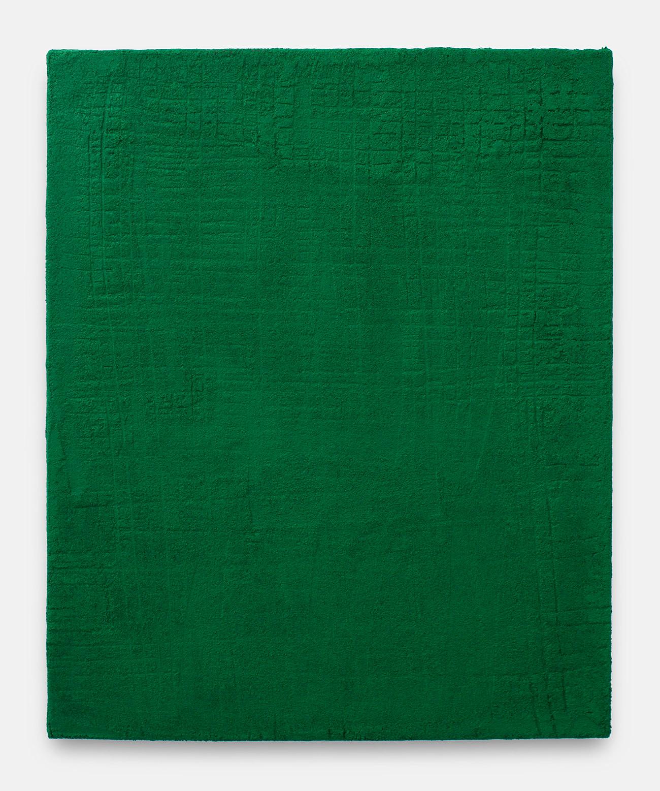 Sin título, 2017. Acrylic, sand and limestone on linen. 73 x 60,5 cm.(verde)73 x 60.5_