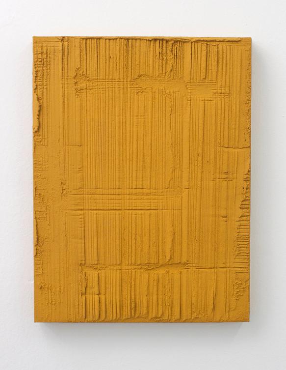 Sin título, 2017. Acrylic, sand and limestone on linen. 50 x 38 cm.