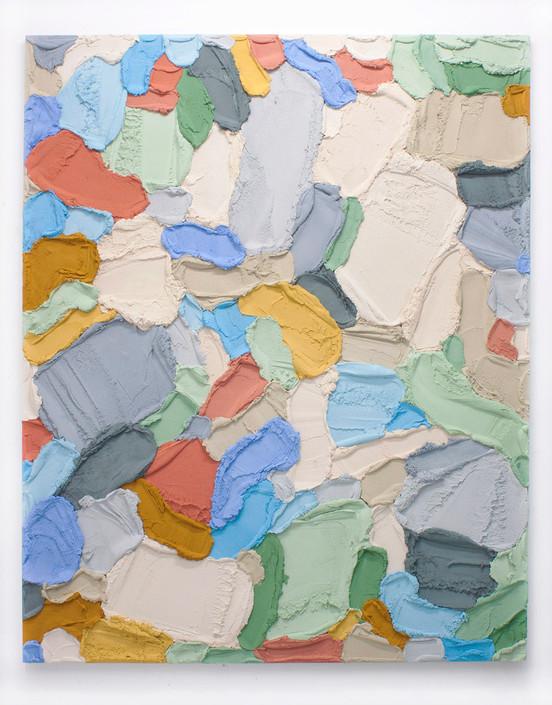 PR60, 2021. Acrylic, sand and limestone on wooden panel, 195 x 160 cm.