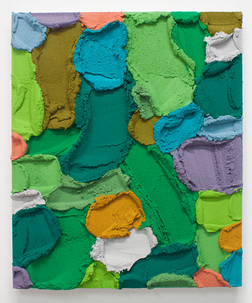 PR61, 2021. Acrylic, sand and limestone on wood panel, 60 x 50 cm.