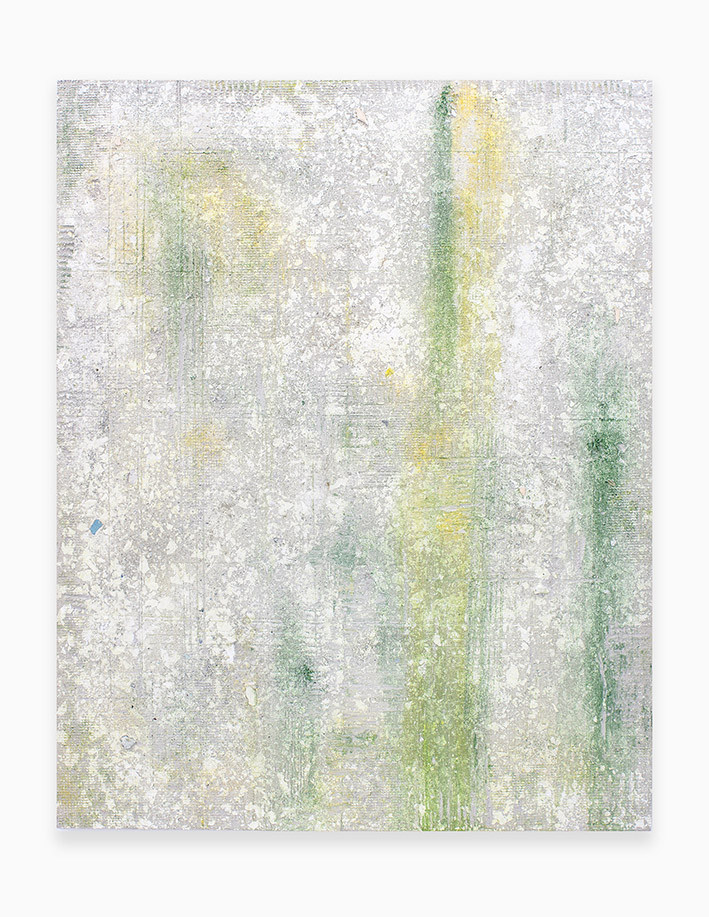Sin título, 2018. Acrylic, sand, chalk, gypsum, pigments and ployurethane foam on linen. 146 x 114 cm.
