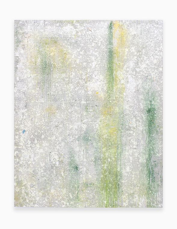 Sin título, 2018. Acrylic, sand, chalk, gypsum, pigments and ployurethane foam on linen. 146 x 114 cm.
