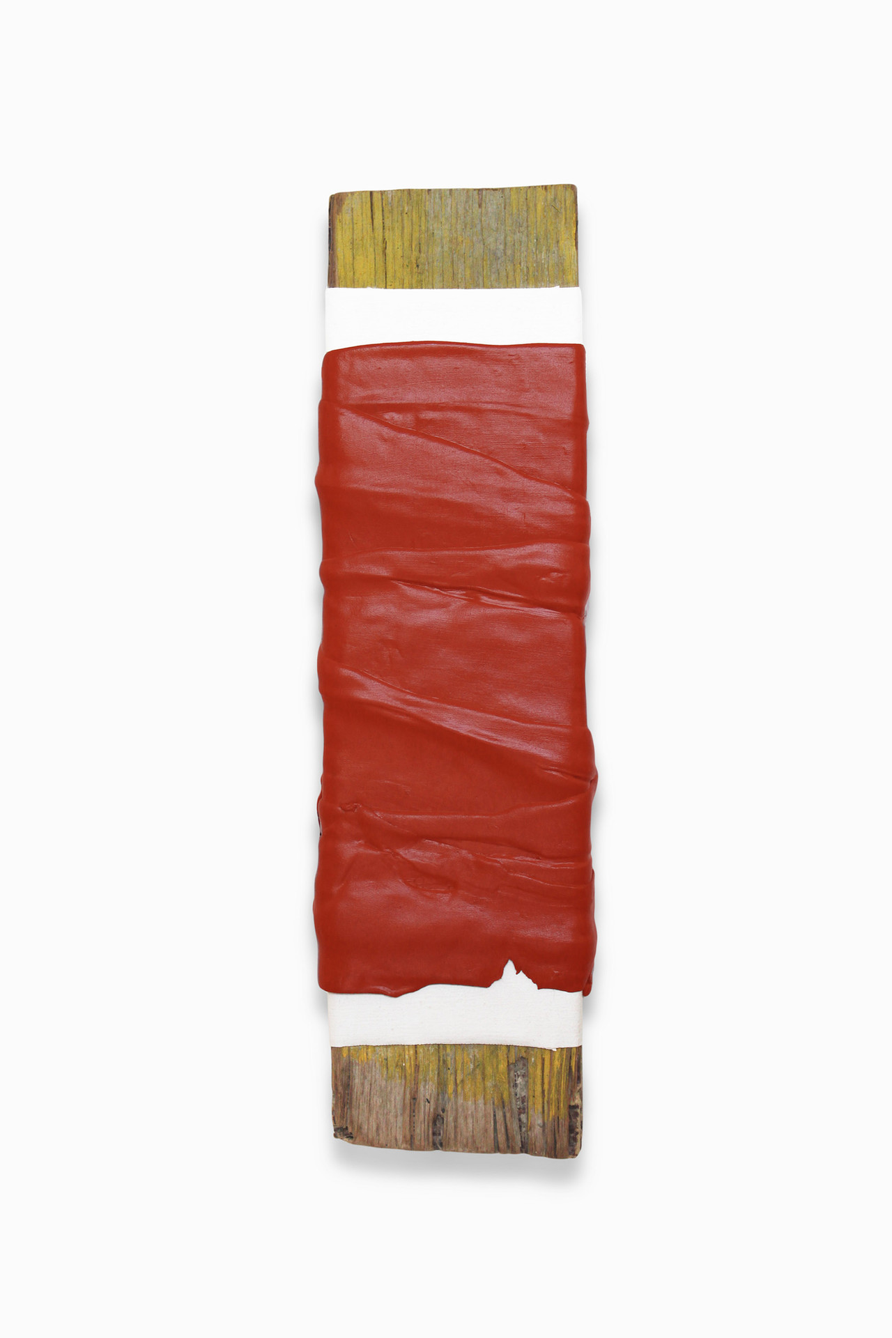 Untitled, 2014. Acrylic, canvas and wooden stick. 32 x 9 cm.