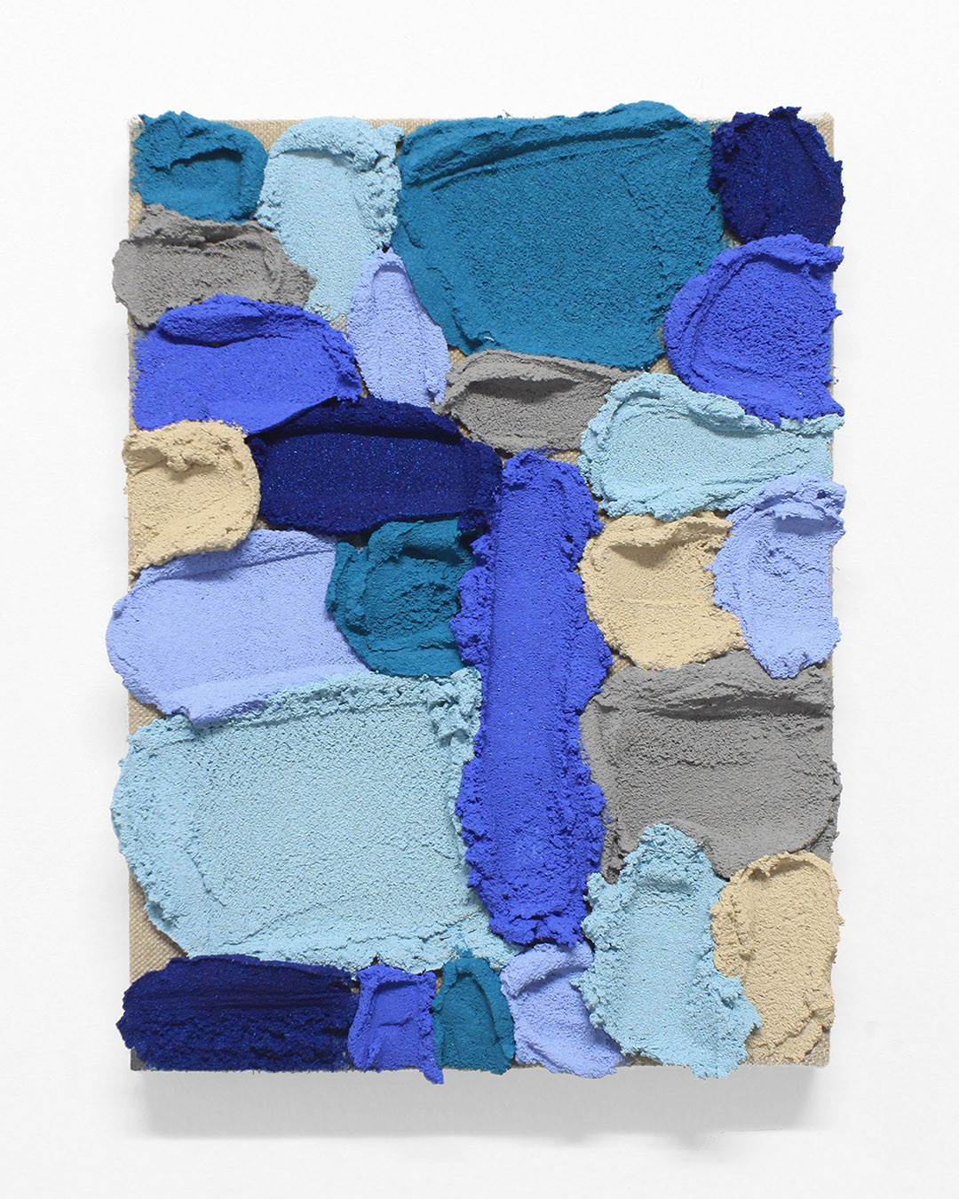 PR30, 2020. Acrylic, sand and limestone on linen. 33 x 24 cm.