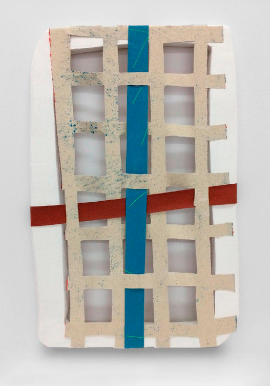 Anverso reverso y un cruce, 2017. Acrylic, canvas and wood. 59 x 39 cm.